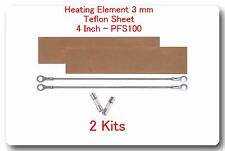 """2 Replacement Heating Elements 3mm +2 PTFI Sheet for Impulse Sealer 4"""" PF100"""