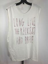 Mens Tank Muscle Shirt Sleeveless White Reckless and Brave size XL