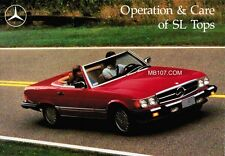 MERCEDES BENZ 107 R107 CONVERTIBLE SOFT AND HARD TOP USE-CARE-OPERATION MANUAL