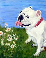 White Old English Bulldog PRINT of original portrait oil painting art RZZART