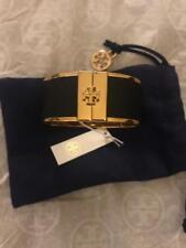 Tory Burch Skinny Leather Inlay Cuff Black Gold Bracelet New
