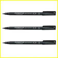 3 x Staedtler Lumocolor Permanent Waterproof Marker Pen - BLACK - SFine (S)