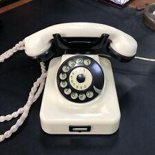 Vintage Hagenuk Bakelite Rotary W49 Desk Wall Telephone 1950s Ivory and Black