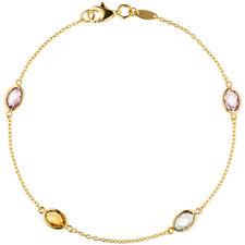 NEU Edelstein Anker-Armband bunt echt Gold 585 Gelbgold 19 cm Armkette 14 Karat