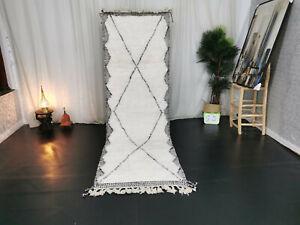 Moroccan Handmade BeniOurain Runner Rug 2'4x10 Berber Geometric White Black Rug