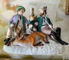 Antique Imperial Russian Popov porcelain figurine group hunters dog deer game