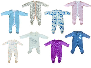 Ex Mothercare Boys Girls Baby Babygrow Toddler Cotton Button Sleepsuit Playsuit