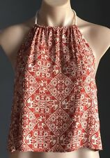 NEW with Tags FOREVER 21 Rust & Ivory Batik Print Halter Neck Top Size M/12