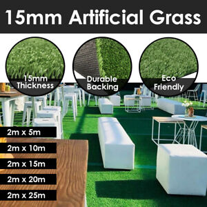 10sqm to 50sqm 15mm Thick 2m Wide Artificial Grass Synthetic Lawn Turf Carpet