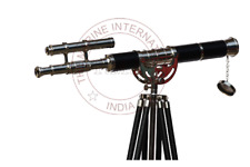 """Nickle Finish With Black Leather Brass Telescope With Tripod 27"""" Double Barrel"""