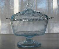 Indiana Glass Ice Blue Oblong Lace Edge Footed Candy Box & Cover