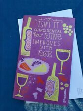 American Greetings  Ready Set Blow  Musical w/ Lights Happy BDAY Card Wine & Age