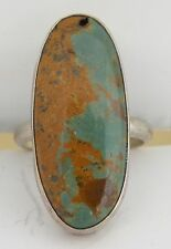 Native American, Navajo Sterling silver & Turquoise oval ring by Chimney Butte