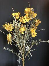 Yellow Artificial Meadow Flower Bunch, Realistic Faux Wild Flowers w Greenery