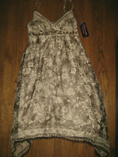 New womens dress 10 Signature by Robbie Bee lined silk beaded brown sleeveless