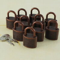 (Lot of 10) Mini Padlock ANTIQUE COPPER COLOR Small Tiny Box Lock with Keys