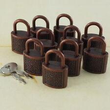 (Lot de 10) Mini Cadenas Antique Cuivre Couleur Petit Minuscule Serrure de Coffre avec clés