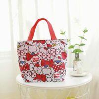 Cute Red Hello Kitty Lunch Bag Waterproof Zipper Tote Handbag Storage Bags Gift
