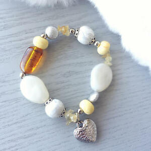 Handmade Yellow Citrine Polymer Clay Beaded Crystal Bracelet Elastic Cord