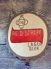 Red Stripe Lager Beer Sign Wood Handmade Folk Art Man Cave Bar Unique Sign