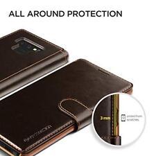 Samsung Galaxy Note 9 Wallet Case Elegant Leather Card Slots Magnetic Lock Brown