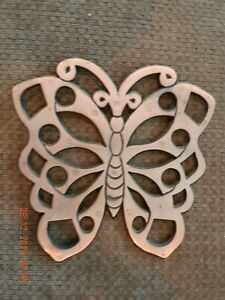 Vintage Copper Trivet Wall Hanging Copper On Iron Butterfly