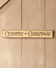 "Antique Distressed Finish ""COUNTRY Christmas"" Wooden Christmas Wall Sign"