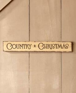 """Antique Distressed Finish """"COUNTRY Christmas"""" Wooden Christmas Wall Sign"""