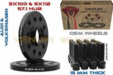 (2) 15MM 5x112 Audi Black Hub Centric Wheel Spacers With Extended Bolts M14x1.5