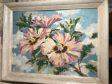 "Large Vintage ""Bunch Of Flowers Scene ""Oil On Paper Painting -  Framed"