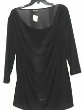 *RACHEL NEW YORK PARIS ROME BLOUSE SIZE 2X STRETCH BLACK SPARKLY MADE USA  NWT