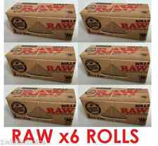 Raw Rolls Full Box 6 x 3m Slim Natural Rolling Paper Classic Kingsize Wide Rips
