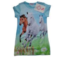 Mädchen Pferd Longshirt T-Shirt Kinder kurzarm Shirt Pferde Motiv Blumen Tunika