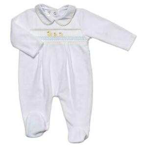Baby boys girls Spanish style velour smocked duck baby grow 0-3 3-6 months