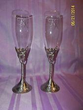 "Set of 2 Wedding Toast/ Champagne Flutes engraved ""K"""