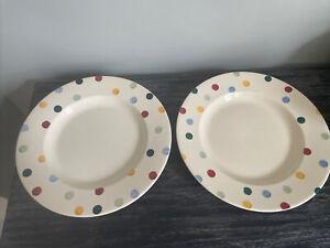 Emma Bridgewater Polka Dot Spotty Dinner Plates X 2 (used Cutlery Marks)