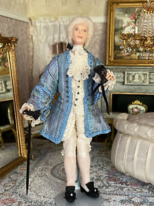 Vintage Miniature Dollhouse Doll Artisan French Sculpted Clay Masquerade Man