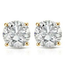 1.06ct Round Diamond Earrings in 14k White Gold With Screw Backs Certificate