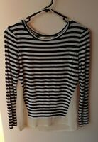 Women's Long Sleeve Top Size XS Into Navy Blue & White Stripe Long Sleeve