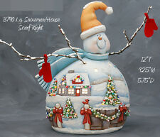 Ceramic Bisque Ready to Paint Large Snowman with House Scene electric included