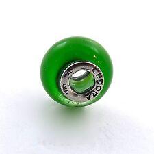 Tedora Sterling Silver Green Murano Iridescent Glass Bead Charm NEW