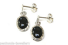 9ct White Gold Black Onyx Drop dangly earrings Made in UK Gift Boxed