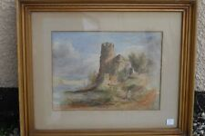 Old castle watercolour in frame