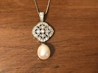 Cream Freshwater Pearl Cubic Zirconia Filigree Sterling Silver Necklace 18 Inch