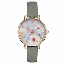 Ted Baker London Damen Leder Armbanduhr Grau Rosè Blumen Motiv TEC0025007