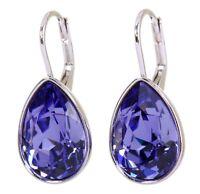 Swarovski Elements Crystal Amethyst Teardrop Earrings Rhodium Authentic 7253v