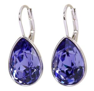 Crystals From Swarovski Amethyst Teardrop Earrings Rhodium Authentic 7253w