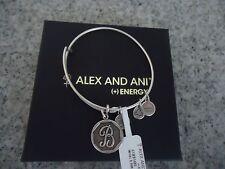 Alex & Ani Initial B Charm Bangle Bracelet  Russian Silver New W/Tag Card & Box