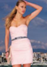 NEW Lipsy Chiffon Jewelled Waist Pink Bandeau Dress Size 8 BNWT