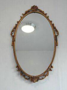 Vintage Gilt Metal Framed Ornate Oval Wall Mirror